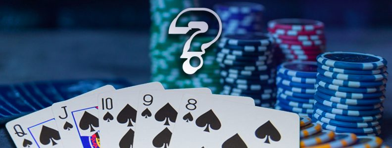 Straight Flush Poker Hand Dengan Tanda Tanya Di Atasnya